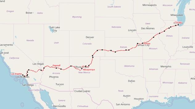 AmtrakSouthwestChiefmap